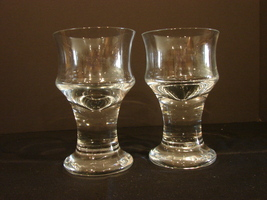 Pair of Sea Glasbruk Orrefors Kosta Boda Sweden Glass Tea /Votive Candle Holder - $30.00