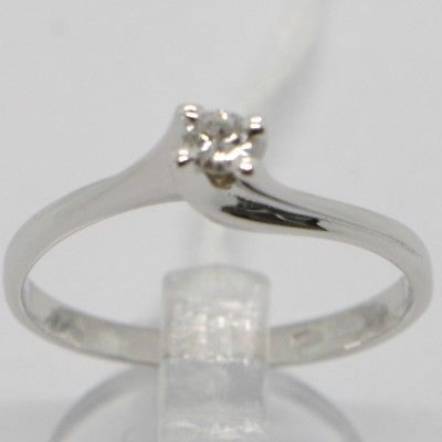 WHITE GOLD RING 750 18K, SOLITAIRE WITH DIAMOND CARAT 0.08, CRISS CROSSED, ITALY