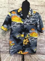 Vintage Kalena Fashions of Hawaii Hawaiian Shirt Sunset Wind Surfing Blu... - $18.19