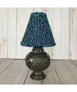 Victorian Rococo Cast Metal Candle Lamp Glass Votive Blue Beaded Shade 3 pc - $59.99