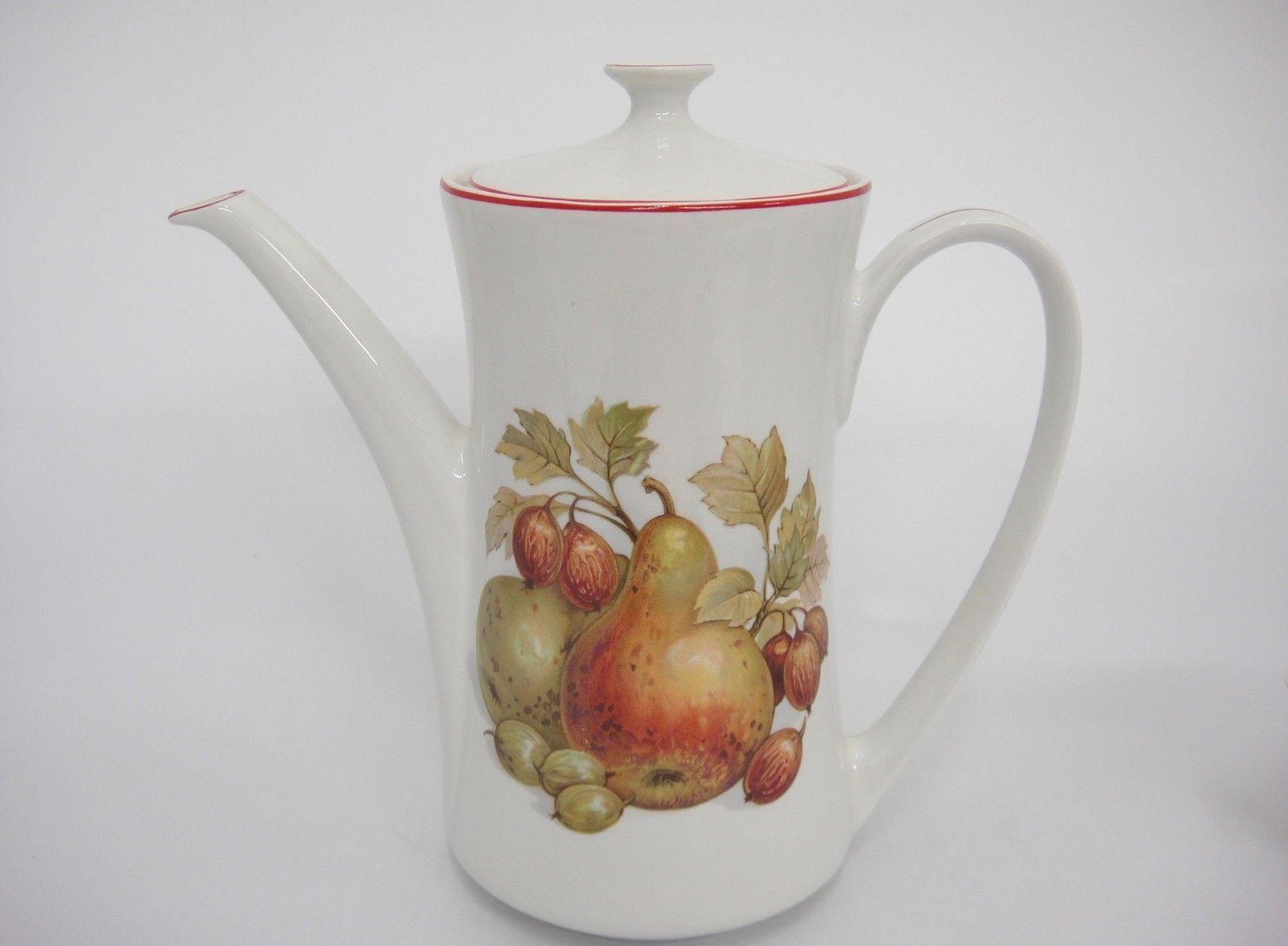 Pontesa Spain Four Cup Coffee Set Pot Sugar and Creamer Fruit Design Red Trim image 6
