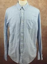 Banana Republic Slim Fit Cotton Linen Long Sleeve Blue Stripe Shirt Men'... - $15.63