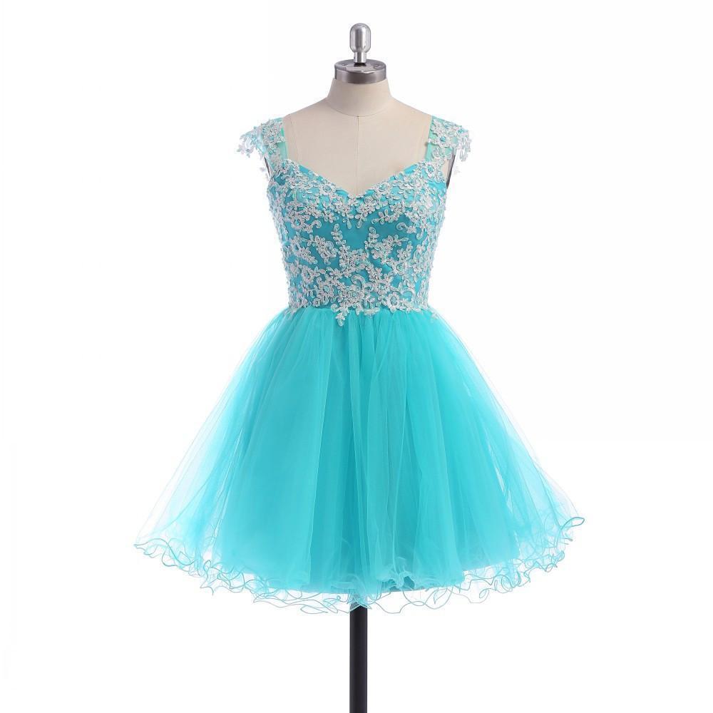 Light blue modest cap sleeve font b homecoming b font font b dresses b font 2015