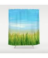 Shower curtains art shower curtain Landscape 465 Nature Blue Green by L.... - $68.99