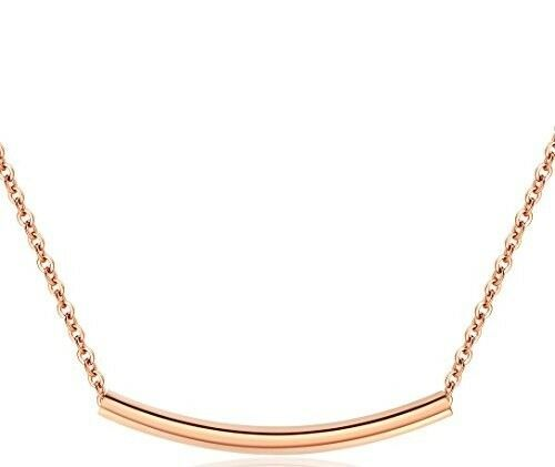 Primary image for Women's Rose Gold Colored Stainless Steel Simple Curved Bar Necklace Jewelry
