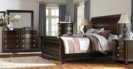 McFerran B195-Q Traditional Dark Walnut Wood Finish Queen Bedroom Set 5Pcs