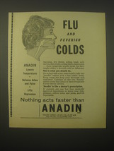 1965 Anadin Tablets Ad - Flu and feverish colds - $14.99