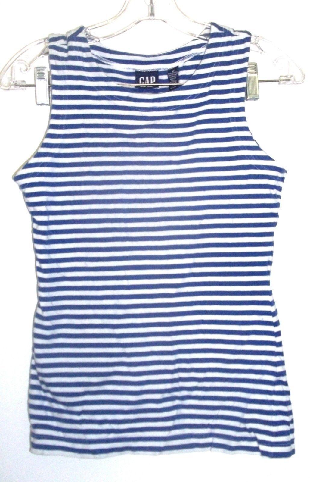 Gap Blue & White Striped Sleeveless Top Cotton Blend Top Sz M - $23.74