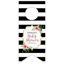 Black and White Stripes w/Heart Personalized Water Bottle Hang Tag - $26.24