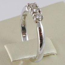WHITE GOLD RING 750 18K, TRILOGY 3 DIAMONDS CARAT TOTAL 0.20, STEM SQUARE image 3