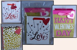 Valentines Day Variety Pack of 3 Small Gift Bags Love Gold Cheetah Happy - $8.59