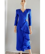Vintage VICTOR COSTA Royal Blue Satin Evening Cocktail Dress S M - $125.00