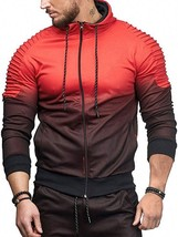 Sports Full Zipper Gradient Print Shoulder Pleated(RED L) - $20.54