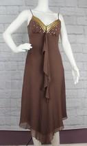 BCBG Paris womens dress sequin brown summer silk size 2 - $19.98