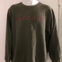 Vintage 1990s Nike Atletismo Blanco Etiqueta Eua Verde Sudadera Pullover... - $18.41