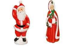 Mr & Mrs Santa Claus Light Up Yard Christmas Decoration Plastic - £277.86 GBP