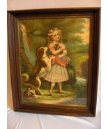 1800's Original Color Lithograph The Pets Girl With Dogs Victorian Frame... - $143.55