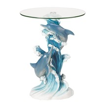 Rustic Accent Table, Playful Dolphins Round Glass Top End Table Sculpture - $127.99