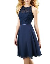 Women's Chiffon Bridesmaid Dress Lace Short Cocktail Party Dress Prom Dresses - $94.77