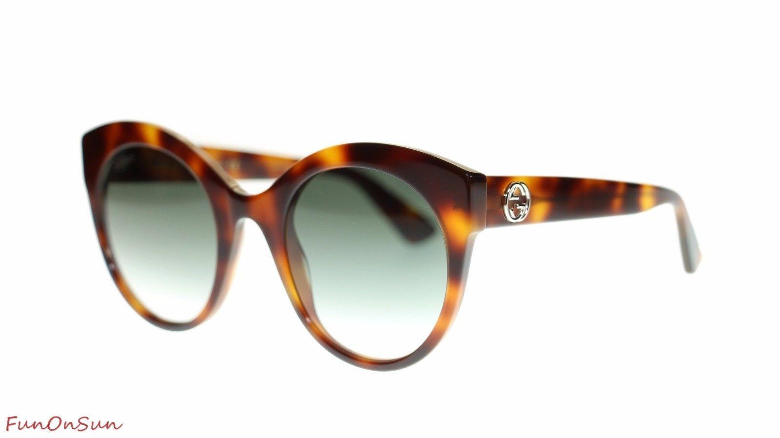 29c0cff31f S l1600. S l1600. Previous. Gucci Women Round Sunglasses GG0028S 002 Havana Green  Lens 52mm Authentic