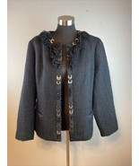 Chicos Womens Blazer Jacket 3 XL Black Tweed Fringe Beaded Open Front Po... - $29.69
