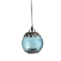 "Midwest 6.25"" Aqua Blue Chic Bohemian Glass Tea Light Candle Holder Lantern - $53.20"