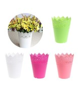 Flower Pot Plastic Lace Planter Tray Crown Holder Hollowed Rim Garden Ho... - $6.99