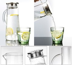 Borosilicate Glass Pitcher Water Coffee with Stainless Steel Infuser Lid... - $24.06
