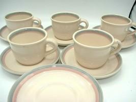 EUC 5 Pfaltzgraff Aura Coffee Tea Cups & 8 Saucers Pink Blue/Gray Bands ... - $15.88