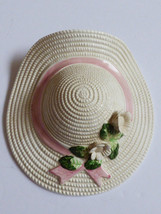 VTG Pottery White bonnet hat with flowers decorative Wall Pockets Plante... - $30.89