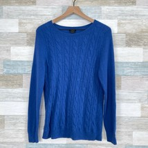 Talbots Pure Cashmere Cable Knit Sweater Blue Soft Casual Womens Large FLAW - $29.69
