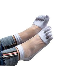 PANDA SUPERSTORE White Summer Low Cut Five Toes Socks Cotton Ankle Socks for Wom