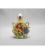 Vintage Floral Perfume Bottle Enamel Flowers Gold Plated Screw Off Lid 1... - $29.69
