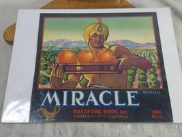 Vtg Fruit Crate Label Miracle Brand Oranges Sunkist Placentia Orange CA 12 x 9 - $13.85