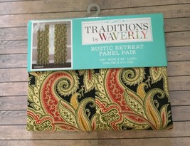 "Traditions Waverly Rustic Retreat Crimson 2 Window Panels 104""x 84"" Curtains NEW - $69.18"