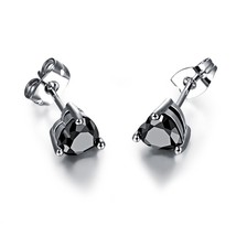 Platinum Plated Heart Shape Cubic Zirconia Stone 6mm*7mm Stud Earrings - $12.39