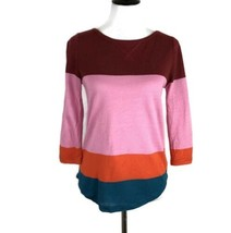 J Crew Colorblock Knit Top Colorful Stripe Linen Blend Blouse Women Size XS - $14.95