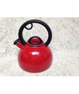 Vintage, Red  Enamelware Teapot or Tea Kettle 9.5in T x 8in D - $28.45