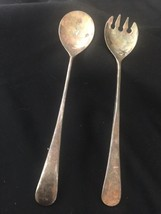 """Vintage Salad Fork & Spoon Silver-plated E.P.ZINC ITALY 9 1/2"""" L  + - $7.92"""
