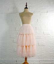 Blush Layered Tulle Skirt Outfit Midi Tiered Tulle Skirt Plus Size Holiday Skirt image 1
