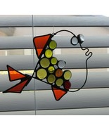 Hand Crafted Stained Glass Sun Catcher Fish 7.5 in Across 5 in Wide Holl... - $34.60