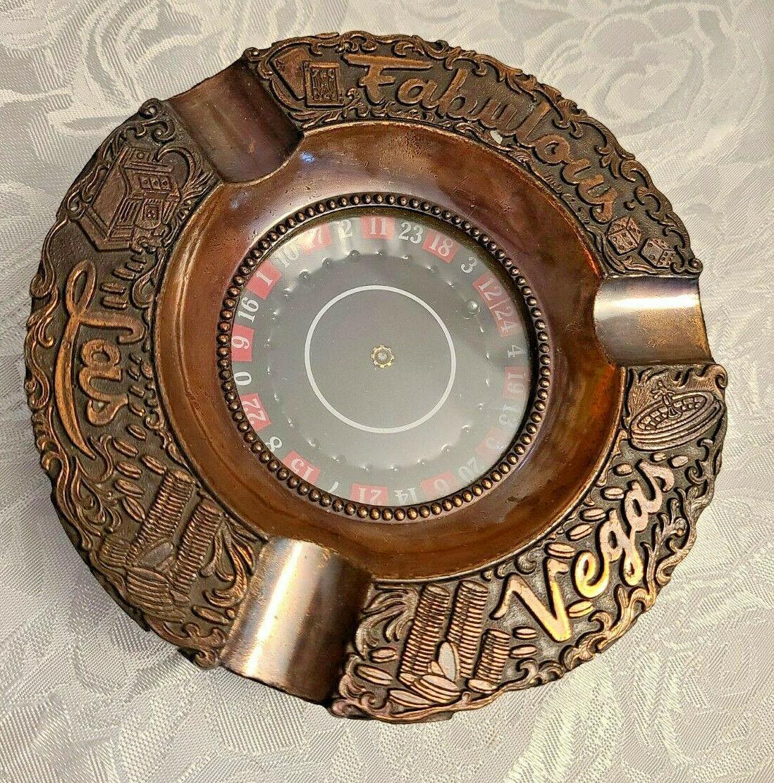 Las Vegas Roulette Wheel Ashtray Souvenir made Japan Vintage cigarette ashtray