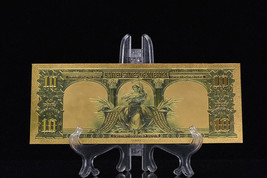 <MINT GEM>PRECISE DETAIL~GOLD~1901 UNC. $10 DOLLAR BISON Rep*Banknote~US S - $12.34