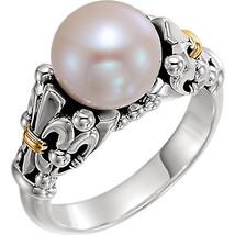Fleur-de-lis Pearl Ring In Sterling Silver & 14K Yellow Gold - $199.99