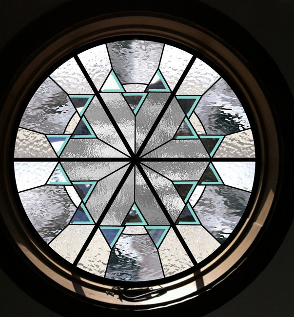 Round Beveled Stained Glass Window - leaded glass bevels round