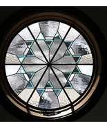 Round Beveled Stained Glass Window - leaded glass bevels round - $589.00
