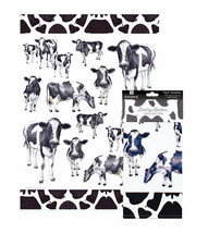 Dairy Belles Tea Towel Ashdene Cows Black White 100% Cotton New - $14.84