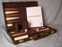 "Travel Backgammon Brown Pressman Case approx. 14.75"" X 9.5"" X 2"" complete/instr - $13.12"