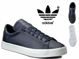 Adidas Originals Court Vantage Mens Leather Trainers shoes - S76209 Navy - $70.37