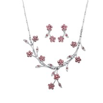 "Silvertone Pink Crystal Floral 2-Pc. Drop Earrings and Necklace Set 16.5""-19.5"" - $27.12"